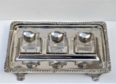 Victoria Sheffield Collection inkwell with three ink bottles and tray stand