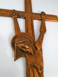 Christ on the Cross, in copper alloy - 1960s, Italy