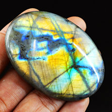 Huge Green Yellow and Blue Flash Labradorite Carved Cabochon  - 61x43x09  mm - 223 ct