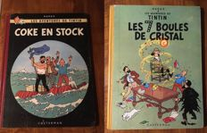 Tintin 13 + 19 - Les 7 Boules de cristal + Coke en Stock - 2x hc - reedition + 1st french edtion (1958)