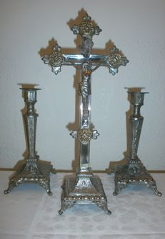 Silver plated Altaarkruis cross with candlesticks