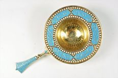 David Anderson, Norway, Sterling Silver & enamel Tea strainer