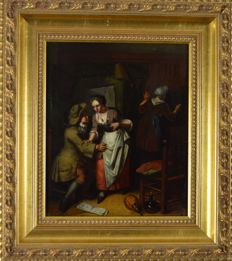 Manner of Jan Steen (18th century) - An unwanted flirtation