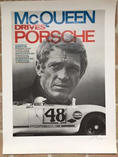 Poster Steve McQueen Drives Porsche 1970 - Signed and Numbered by Erich Strenger