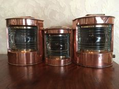 Unique set copper navigation ship lamps