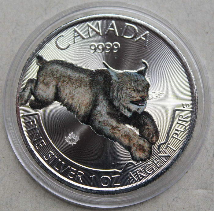 Canada – 5 Dollars 2017 'Wildlife series – Cougar' colour– 1 oz silver