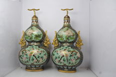 Pair of Chinese bronze cloisonné/champlevé vases - China - mid 20th century