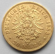Germany (Prussia) - 20 Mark 1883 A - Wilhelm - gold