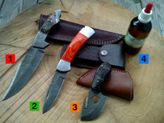 1 Damascus steel hunting knife / outdoor/camping + 1 Damascus steel folding knife / Pocket knife + 1 x Damascus steel knife/Skinner + 100 ml of Camellia oil