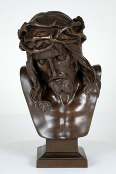 Eugène Marioton (1854-1933) - Bronze sculpture of Christ with crown of thorns  - France - circa 1900