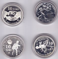 Spain – 10 euro 2002, 2005, 2007 en 2009 (4 different ones) – silver