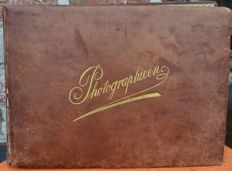 Old photo album from 1889 to 1921 with photographs, postcards, diplomas, telegrams, menus, various old documents...