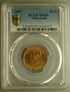 The Netherlands - 10 guilder coin 1897, Wilhelmina in PCGS slab - gold