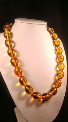 Olive shape honey colour beads modified Baltic Amber necklace, 50 grams