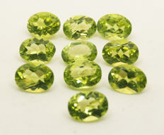 10 Peridotes – 13,86 ct  total No Reserve Price