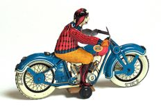 J.M.L., France - Length 17 cm - tin motorcyclist without mechanism, 1950s