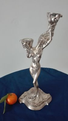 Silver Plated Nude of Woman, silver title 925
