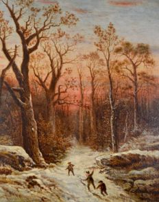 C Charnley (19th century) - A snowball fight in the woods at dusk