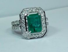 A 3.16ct Emerald and Diamond ring.