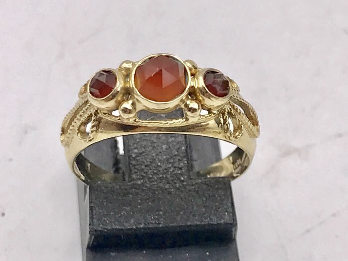 Handmade 14 kt gold women's ring with carnelian and garnet - Ring  size is 17.5