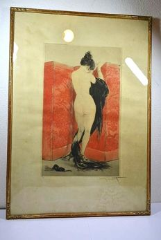 Louis Icart (1880-1950) - 'Le Paravent de Laque' - Art Deco etching/aquatint in colours - in original frame