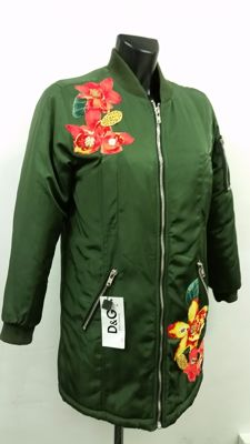 Dolce & Gabbana padded raincoat parka, hand-embroidered and made in Italy