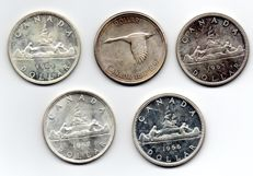 Canada - Dollars, 1962, 1963, 1965, 1966, 1967 (5 pieces) - silver