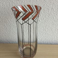 Chris Agterberg (attribution) - Clear glass vase with stylised enamelled decor