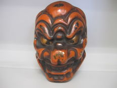 Polychrome large mask of Konron or Kuron of Gigaku dance - with craftstman's seal - Japan - Early 20th century