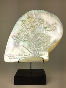 Large engraved mother of pearl shell with Japanese Style Carving - Asia - 21st century