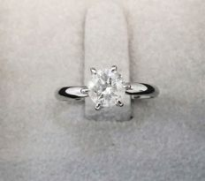 1.05 ct Solitaire Diamond Ring - E / SI2 - 14K White Gold + AIG Big Certificate  + Laser Inscription On Girdle  .