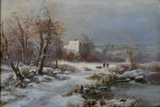 Indistinct signature. (19th century) - Wood gatherers in a winter landscape.
