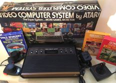 Atari 2600 Woody Games Console + Original Box + Joystick + Paddles + 3 Games + All Leads & Cables