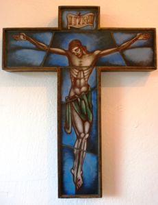 Art deco Opaline crucifix
