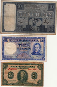 Netherlands - 2 ½ Guilders 1943 Wilhelmina, 10 Guilders 1927 Zeeland girl and 10 Guilders William I