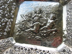 Exceptional silver dish with putti, Christoph Widmann, Germany, Pforzheim, first half of the 20th century
