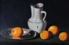 Continental School (20th century) - Nature morte aux oranges et au broc