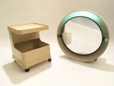 Allibert - space–age mirror with lighting, including a plastic drinks trolley