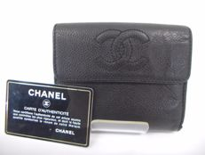 Chanel -- CC Logo Wallet Caviar Skin Leather Trifold Black Purse