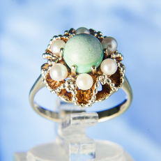 14K Solitaire Lady's Ring creme-white salt water Pearls 3,1 mm & Malachite