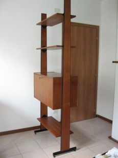Unknown designer - free-standing teak storage unit with desk
