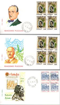 Republic of Italy, 1964-1998 - collection of 250 FDC envelopes of which 36 fourblocks and 19 postcards