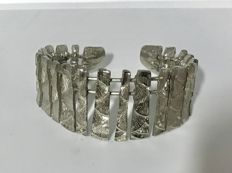 925 Sterling Silver Fish Scales Cuff Bracelet