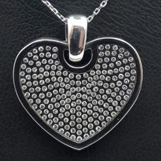 18 Ct White Gold Chain and Floating Diamond Heart Pendant, Length 45 cm, Heart 2x2 cm