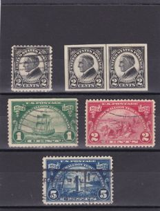 United States 1920/1925 - a selection between Scott 537 and 623 plus 3 postcards and 1 cover