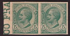 Italy, Kingdom, 1906 – 5 c. Lions, archive proof in horizontal pair – Sass. No. P81.