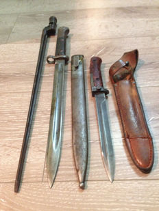 Lot of WWII Mauser Bayonet VZ–24 with Sheath! -Marked -J and Mosin Nagant bayonet and Samopal Bayonet