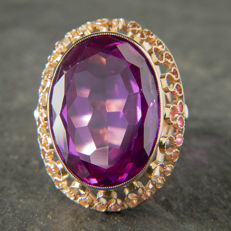 585 Vintage cocktail ring with a ca. 25 ct. Amethyst , early 20th RS: 55 / 17,6 mm ∅ / US 7,5