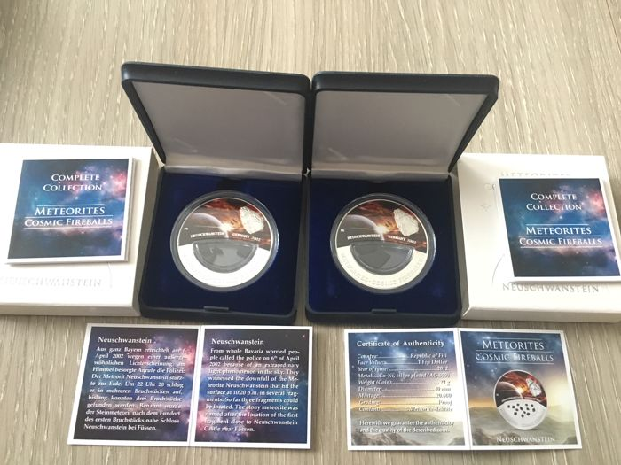 Fiyi - Dollars 2012 'Meteorite Cosmic Fireballs Neuschwenstein Germany' (2 pieces) - silver plated  - Other