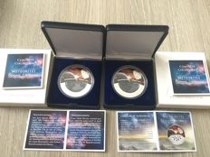 Fiji Islands - Dollars 2012 'Meteorite Cosmic Fireballs Neuschwenstein Germany' (2 pieces) - silver plated
